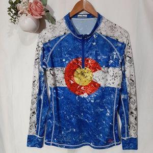 Tops - Colorado Flag long-sleeve half-zip Jersey Shirt